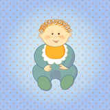 Cartoon baby boy on dots background. Royalty Free Stock Photography