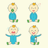 Cartoon baby boy emotion set. Newborn child or infant emoticon. Offspring or toddler with pacifier and milk bottle sitting, smiling, crying, laughing and Royalty Free Stock Photography