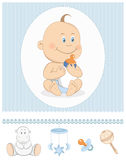 Cartoon baby boy with milk bottle and toy icons. Editable vector illustration stock illustration
