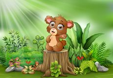 Free Cartoon Baby Brown Bear Sitting On Tree Stump With Green Plants Royalty Free Stock Images - 132710799
