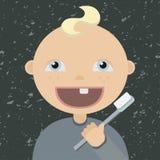 Cartoon baby brushing teeth Stock Image