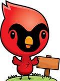 Cartoon Baby Cardinal Wood Sign Stock Image