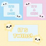 Cartoon baby cards. Baby cards - it`s a boy, it`s a girl and it`s twins vector illustration