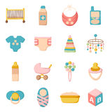 Cartoon baby care icons Royalty Free Stock Photos
