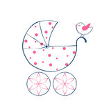 Cartoon baby carriage Stock Image