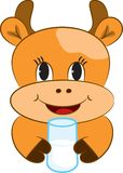 Cartoon baby cow with glass of milk Royalty Free Stock Photos