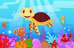 Cartoon baby cute turtle with collection fish Royalty Free Stock Image