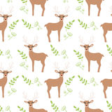 Cartoon Baby  deer animal flat seamless pattern. Cartoon Baby  animal flat seamless pattern Royalty Free Stock Images