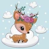 Cartoon baby Deer is lying on the cloud stock photography