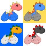 Cartoon Baby Dinosaur/Dragon. Cute baby dinosaur/dragon in four different colours Royalty Free Stock Photos