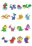 Cartoon baby dinosaurs. Illustrated set of cartoon dinosaurs isolated on white background Royalty Free Stock Photos