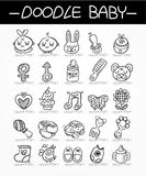 Cartoon baby doodle icon set Royalty Free Stock Photography
