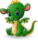 Cartoon baby dragon sitting Royalty Free Stock Photos