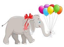 Cartoon baby elephant with ribbon and balloons Royalty Free Stock Image