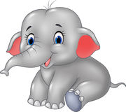 Cartoon baby elephant sitting isolated on white background Stock Images