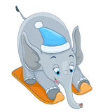 Cartoon baby elephant skiing with blue hat Stock Photo
