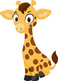 Cartoon baby giraffe sitting Stock Photos