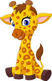 Cartoon baby giraffe sitting Stock Photography
