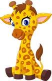 Cartoon baby giraffe sitting Stock Photography