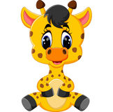 Cartoon baby giraffe sitting Royalty Free Stock Image