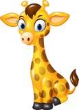 Cartoon baby giraffe sitting isolated on white background Stock Image