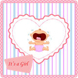 Cartoon baby girl crying card Stock Photography