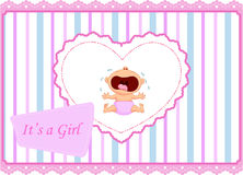 Cartoon baby girl crying card Stock Images