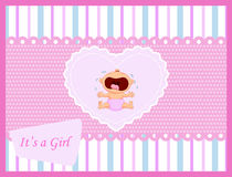 Cartoon baby girl crying card Royalty Free Stock Photos