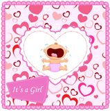 Cartoon baby girl crying card Stock Image