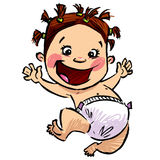 Cartoon baby girl with diapers and funny hair jumping high royalty free illustration