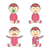 Cartoon baby girl emotion set. Newborn child or infant emoticon. royalty free illustration