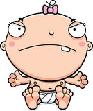 Cartoon Baby Girl Mad. A cartoon illustration of a baby girl looking mad Stock Images
