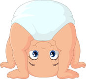 Cartoon baby girl playing upside down. Illustration of Cartoon baby girl playing upside down Royalty Free Stock Photography