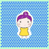 Cartoon baby girl violet hair yellow dress. Cartoon baby girl with violet hair and yellow dress on hearts backgrounds Royalty Free Stock Photos