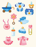 Cartoon baby good icon set Stock Photos