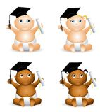 Cartoon Baby Graduates. An illustration featuring your choice of baby holding a diploma and wearing graduation hats to represent education - african american and Royalty Free Stock Photo