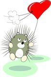 Cartoon baby hedgehog toy with red heart balloon Stock Photo