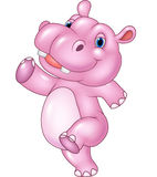 Cartoon baby hippo running isolated on white background Stock Photography