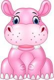 Cartoon baby hippo sitting isolated on white background Stock Photo