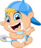 Cartoon baby holding bottle Stock Images