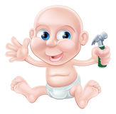 Cartoon baby holding toy hammer Royalty Free Stock Photos