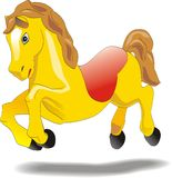 Cartoon baby horse - animation character. Little cartoon horse galloping, vector sketch Stock Photography