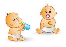 Cartoon baby icons Royalty Free Stock Photos