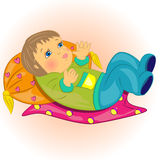 Cartoon baby lie in bed.cute character. Cartoon baby lie in bed.cute bebe character at home  illustration Stock Photo