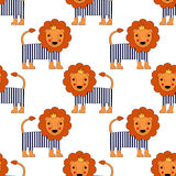 Cartoon baby Lion seamless pattern. Cute animal vector background. Royalty Free Stock Photo