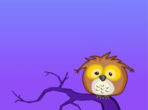 Cartoon baby owl sits on a branch at night-raster. This baby owl is illustrated based on a Great Horned Owl.  His ear tufts are lowered because he is still Royalty Free Stock Images