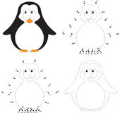 Cartoon baby penguin. Coloring book and dot to dot game for kids. Cartoon baby penguin. Coloring book and dot to dot educational game for kids royalty free illustration