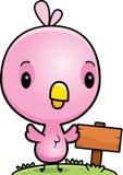 Cartoon Baby Pink Bird Wood Sign Stock Photo