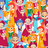 Cartoon baby princesses seamless pattern. Seamless pattern with cute cartoon baby princesses on white background Royalty Free Stock Image