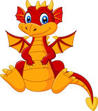 Cartoon baby red dragon Royalty Free Stock Image
